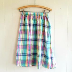 1980s Booth Bay Plaid Cotton Skirt